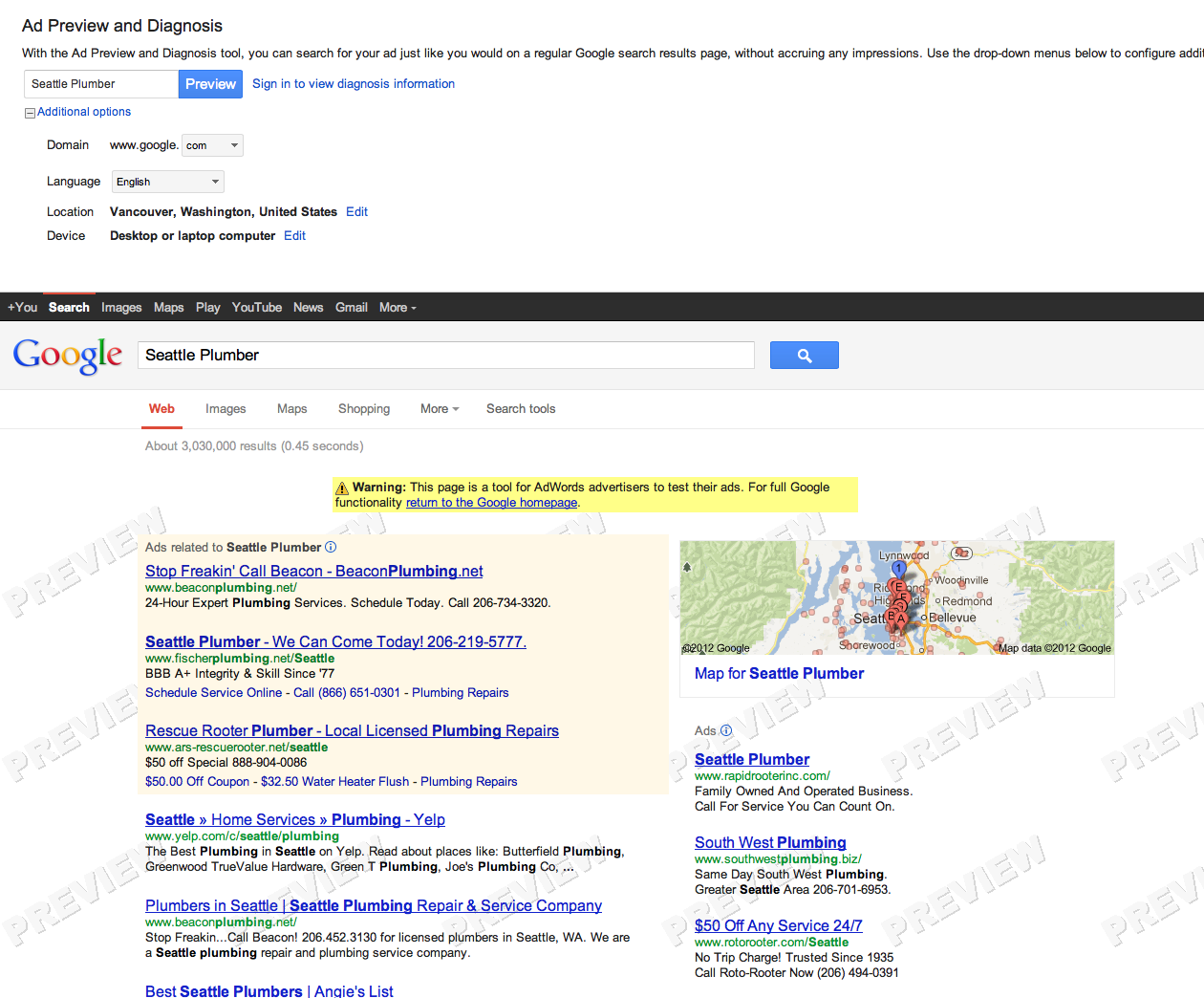 Update - Google AdWords Ad Preview Tool Not Working In